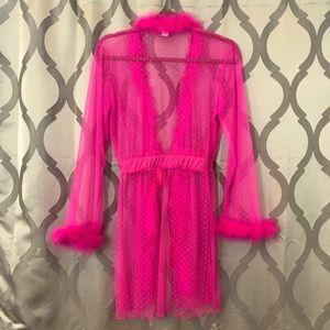 Rampage Intimates   Sleepwear - Hot Pink Sheer Barbie Lingerie Robe NWOT  sexy Hot 0d481ec59